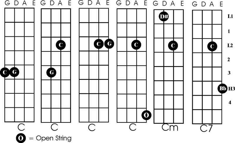 Banjo chords double c tuning