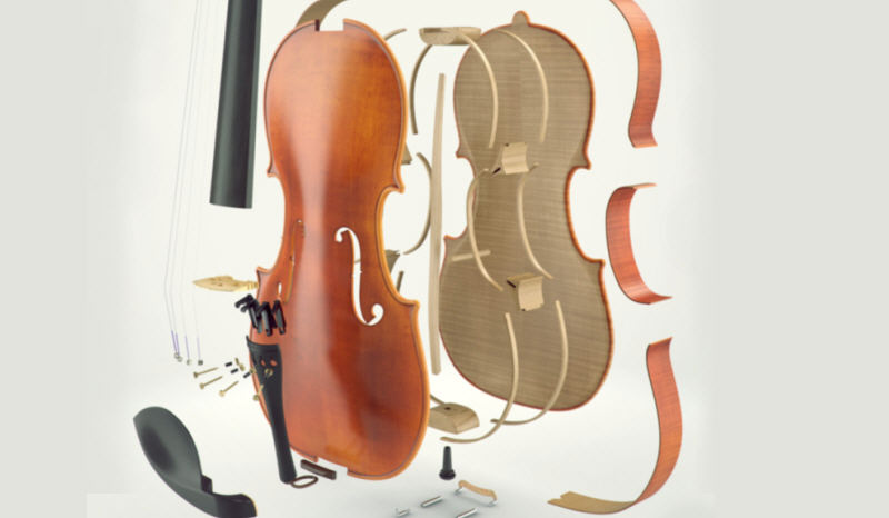 parties du violon vue éclatée