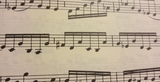 sonates et partitas pour violon - presto, mesures 120-121