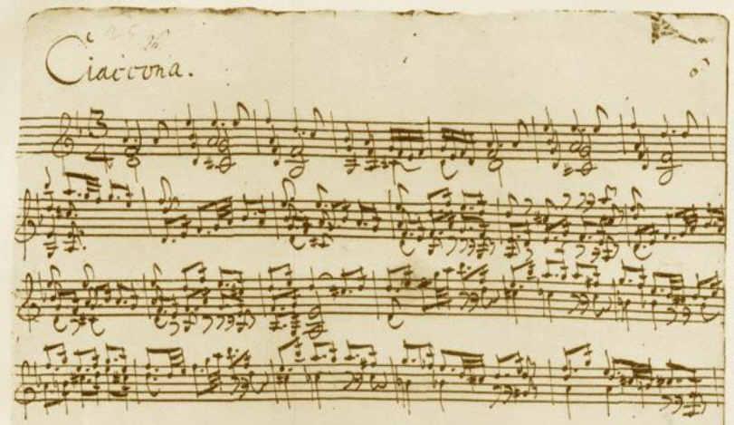 Sonates et partitas de Bach, partition originale de la Chaconne